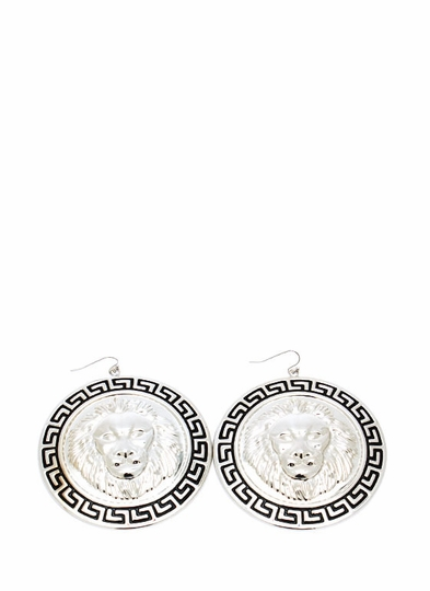 Lion A Round Medallion Earrings