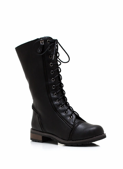 Lips Are Zipped Combat Boots