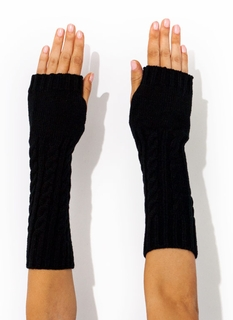 Long Knit Fingerless Mittens