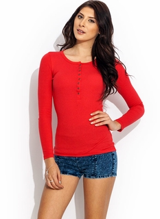 Long Sleeve Ribbed Henley Tee