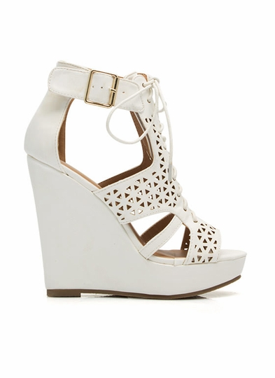 Love Triangle Faux Nubuck Wedges