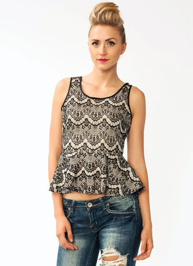 Lovely In Lace Peplum Tank