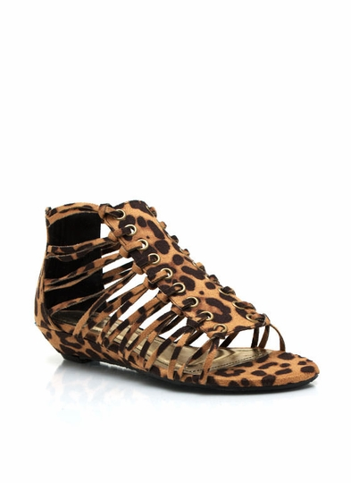 Low-Rise Leopard Gladiator Sandals