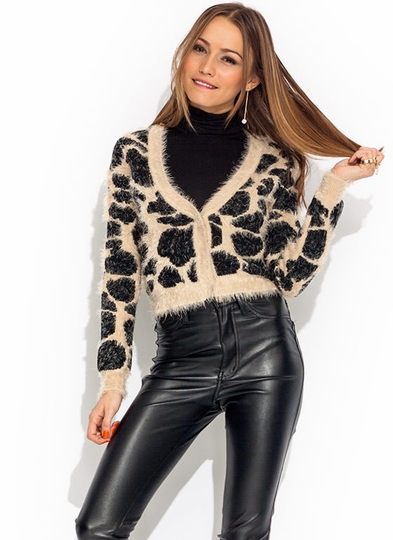 Make A Fuzz Animal Print Cardigan