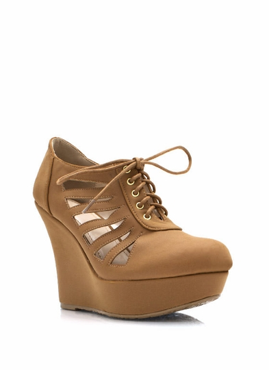 Make The Cut Lace-Up Wedge Booties