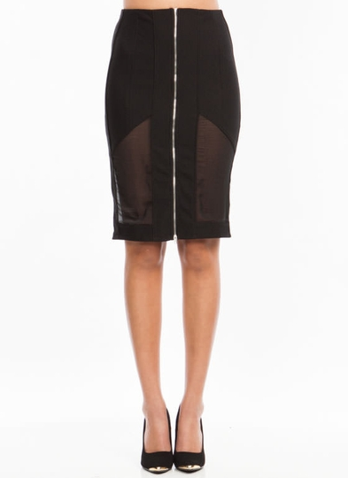 Meet Your Mesh Inset Pencil Skirt