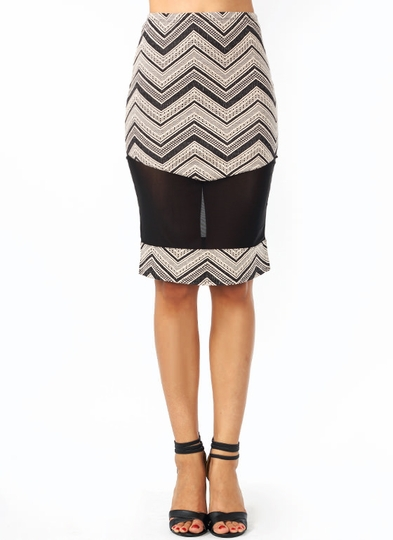 Mesh Around Chevron Midi Skirt