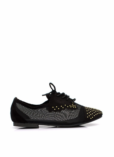 Mesh-Behaving Studded Lace-Up Flats