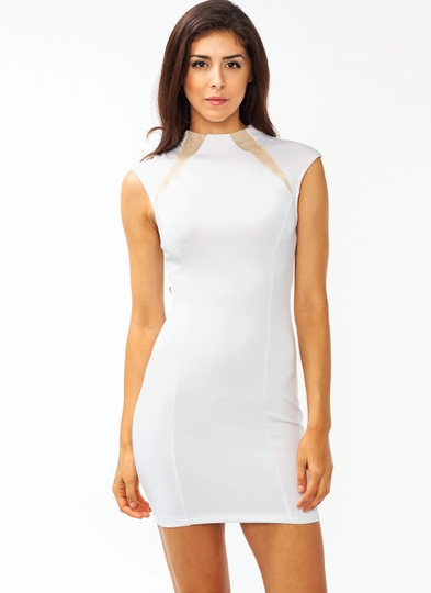 Mesh Inset High Neck Dress
