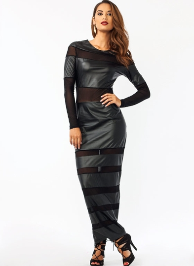 Mesh N Faux Leather Maxi Dress