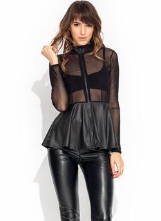 Mesh Network Peplum Top