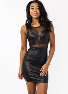 Mesh Together Faux Leather Dress