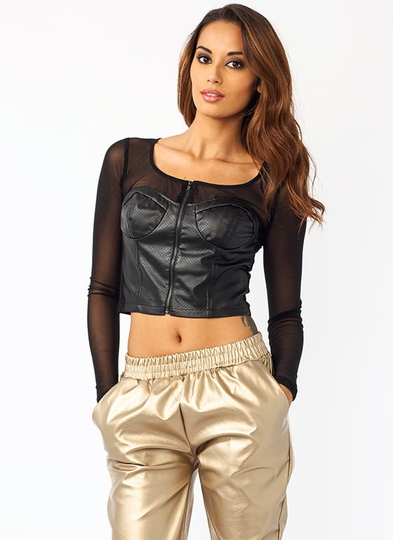 Mesh-Up Perforated Faux Leather Top