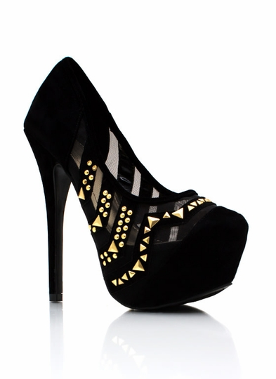 Mesh With This Stud Platform Pumps