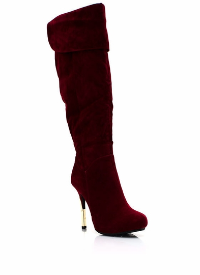 Metal Accent Faux Suede Boots