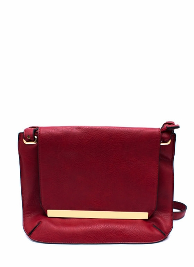 Metal Accent Flat Satchel