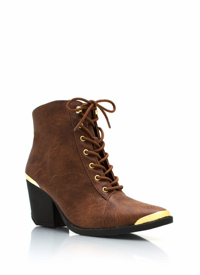 Metal Accent Victorian Ankle Boot