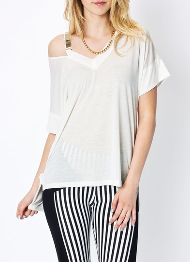 Metal Charm Cut-Out Tee