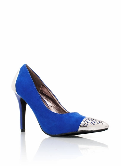 Metal Plate Cap Toe Pumps