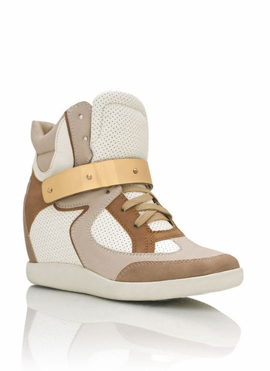 Metal Plate Wedge Sneakers