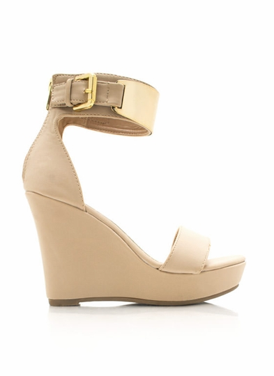 Metal Shield Faux Nubuck Wedges