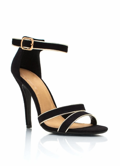 Metallic Accent Ankle Strap Heels