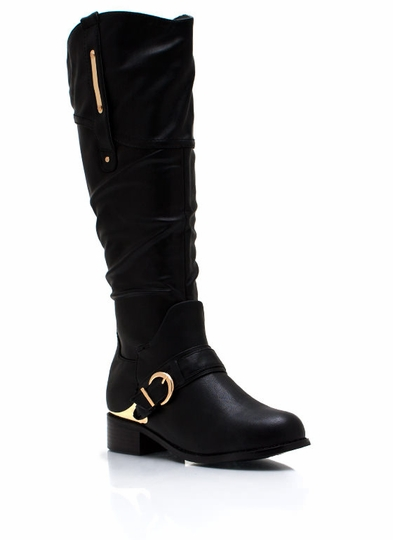 Metallic Accent Harness Boots