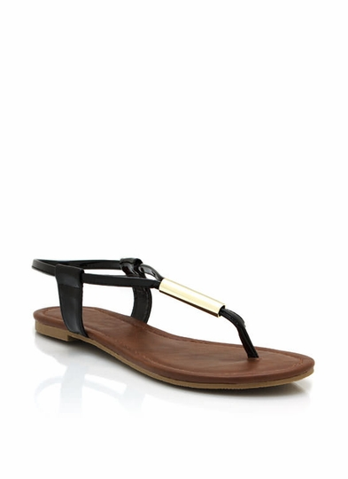 Metallic Accent Thong Sandals