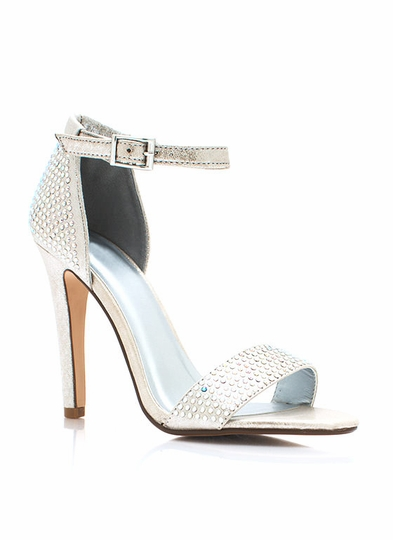Metallic Bejeweled Strappy Heels