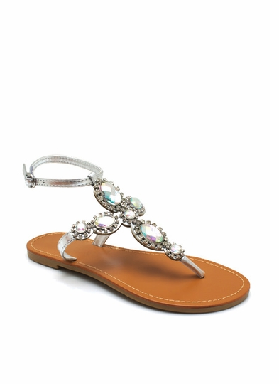 Metallic Bejeweled Thong Sandals