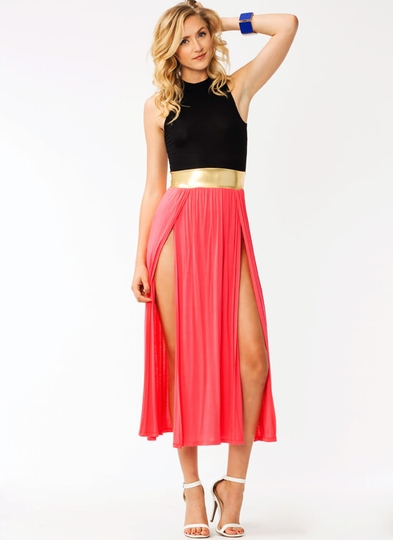Metallic Belted Slit Maxi Dress