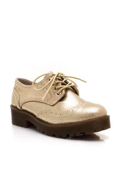 Metallic Brogue Oxfords