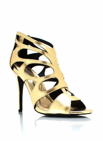 Metallic Butterfly Caged Heels