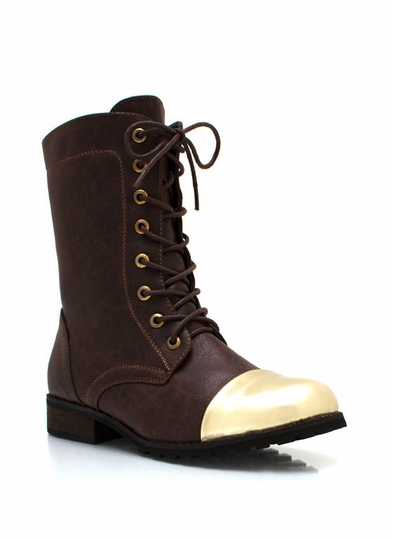 Metallic Capped Lace-Up Boots