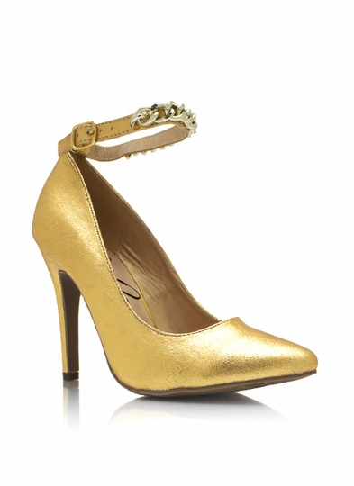 Metallic Chained Up Single-Sole Heels