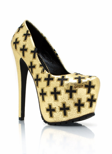 Metallic Cross Yourself Platform Pumps