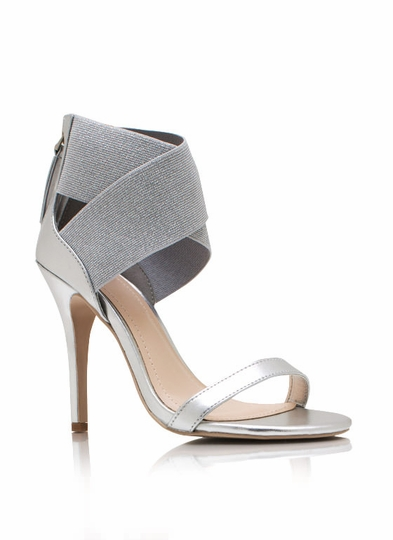 Metallic Crossing Paths Heels