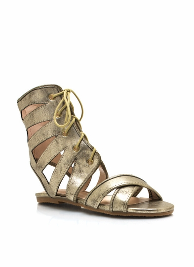 Metallic Cut-Out Lace-Up Sandals