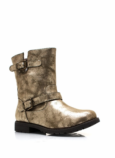 Metallic Double Buckle Engineer Boots