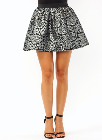 Metallic Embossed Mini Skirt
