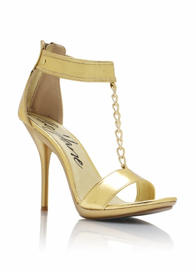 Metallic Faux Leather T-Strap Heels