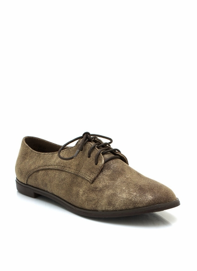 Metallic Faux Nubuck Oxford Flats