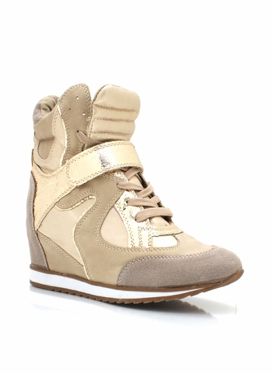 Metallic Inset Wedge Sneakers