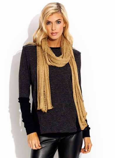 Metallic Open Knit Scarf