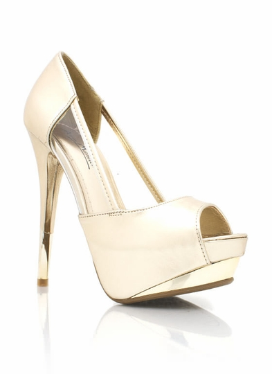 Metallic Peep-Toe Pumps