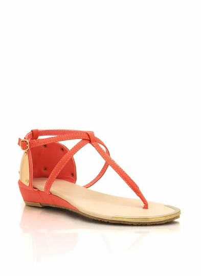 Metallic Plate Thong Sandals