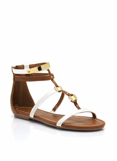 Metallic Plated Strappy Sandals