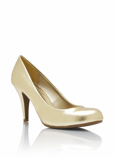 Metallic Round Toe Pumps