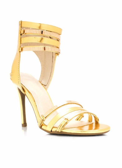 Metallic Shiny Tile Chain Heels