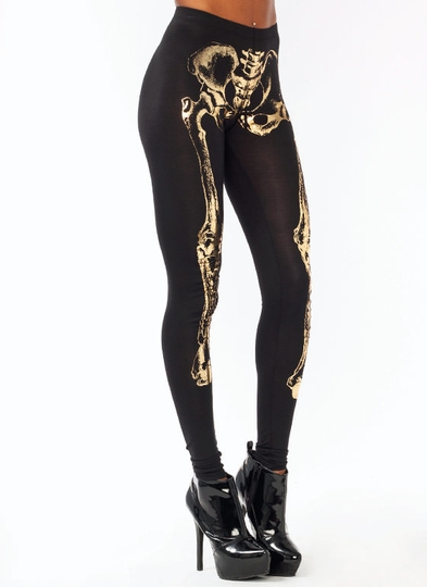 Metallic Skeleton Leggings